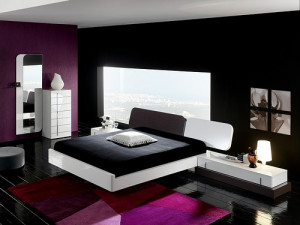 Bed room decor with black furniture
