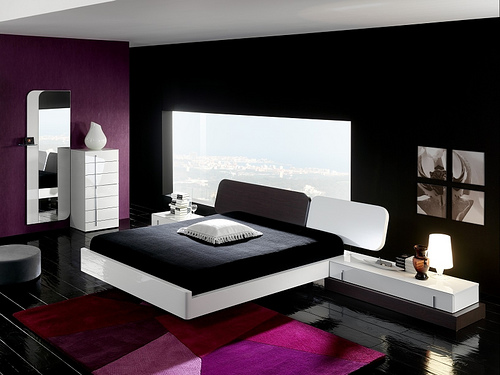 Modern black and white bedroom ideas for Black decorated rooms