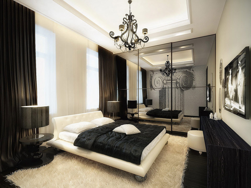 Modern black and white bedroom ideas for Black bed bedroom ideas