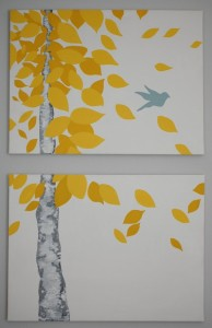 DIY easy autumn leave painting