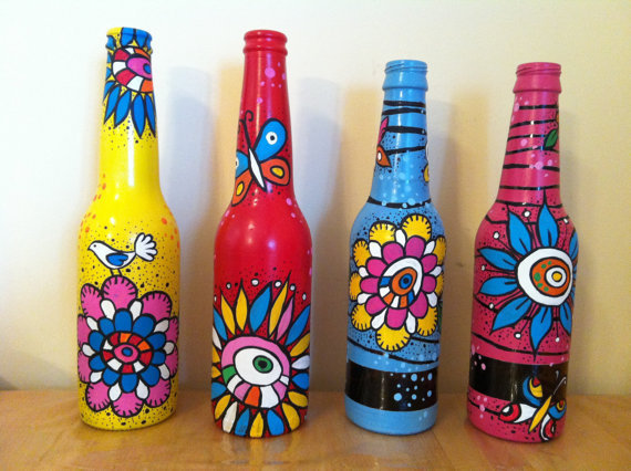 Diy painting glass jars and bottles tutorials for How to paint bottles with acrylic