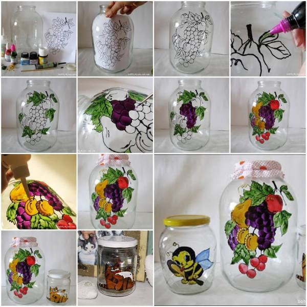 Diy painting glass jars and bottles tutorials for Diy paint