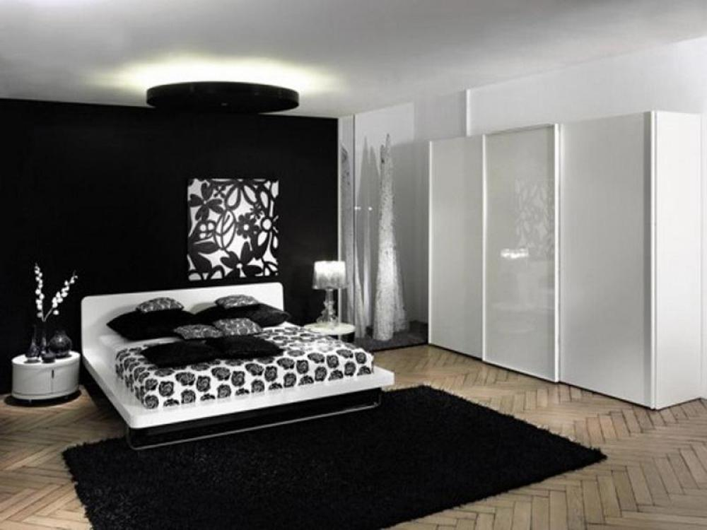 Modern black and white bedroom ideas for Black wall room ideas