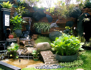 Landscaping in small garden
