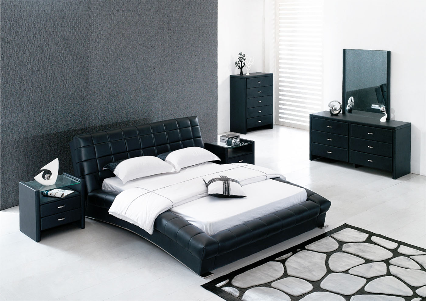 Modern Black And White Bed Room Ideas Large