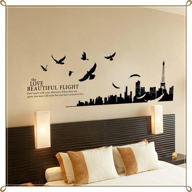 Modern paris room decor ideas for Bedroom wall decals