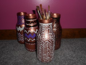 Painted glass bottle crafts