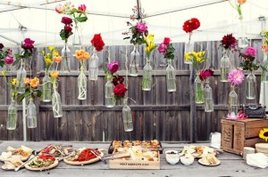 Party decoration with glass bottles