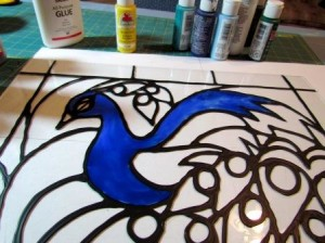 Peacock glass painting patterns