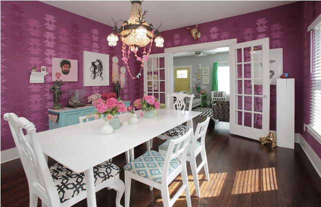 Radiant orchid home decor ideas for Purple dining room wall art