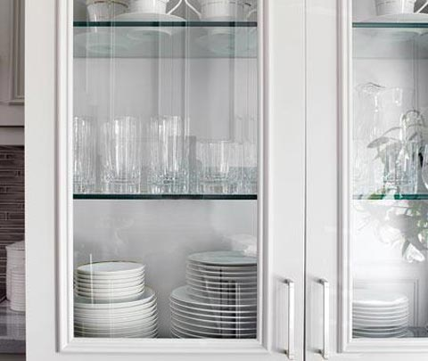Kitchens with white cabinets for Diy glass cabinet doors