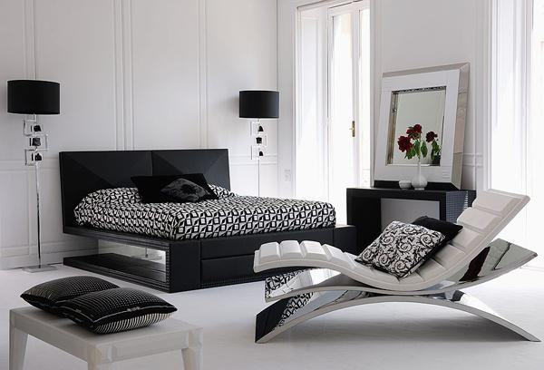 Modern black and white bedroom ideas for Black white and grey room decor