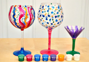 DIY painted wine glass craft