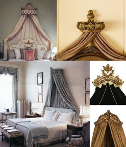 Bed canopy crowns