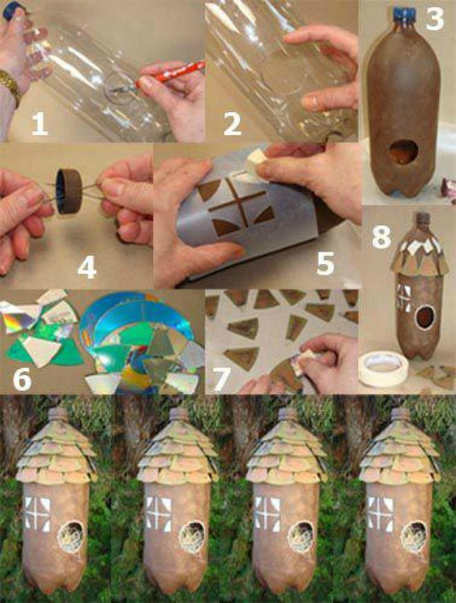 Diy decorative birdhouses ideas for Diy plastic bottle