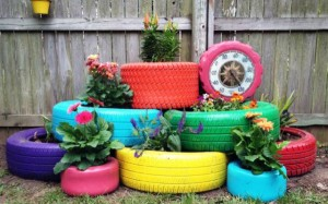 Garden decor with containers