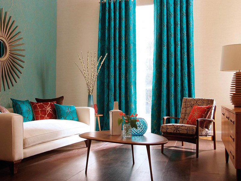 Cool teal home decor for spring and summer - Living room curtains photos ...