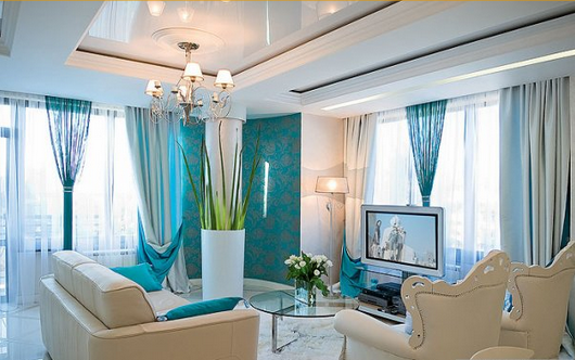 bedroom decoration with teal blue theme