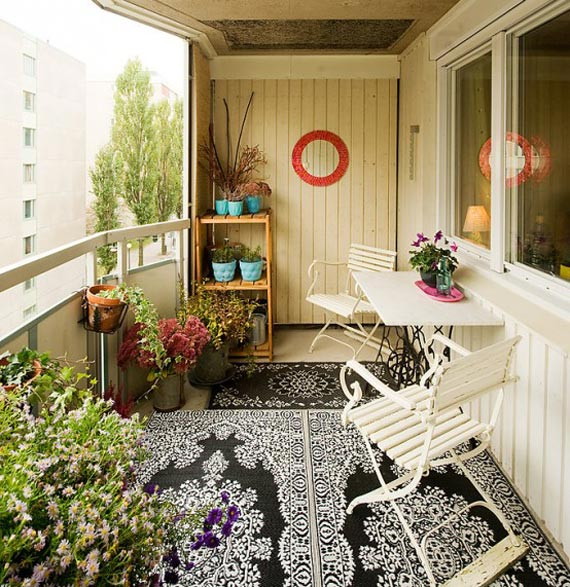 Small balcony decorating ideas for modern homes for Terrace interior design ideas