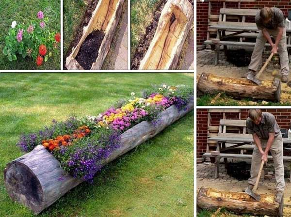 Landscaping With Wood Logs : Garden idea for money saving and making cool diy container