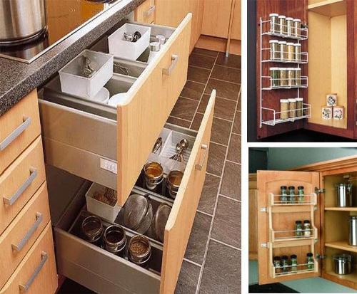 Creative diy storage ideas for small spaces and apartments for Kitchen cabinet accessories