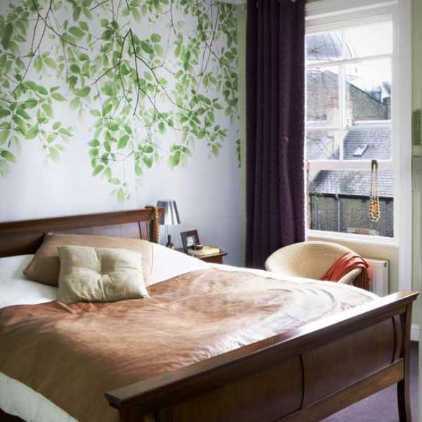 Modern small bedroom decorating tips for Bed wallpaper design