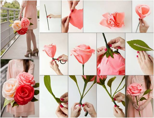 Diy paper flower tutorial step by step instructions for How to make simple crafts at home