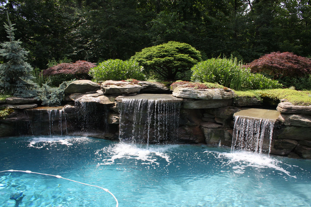 Modern pool landscaping ideas with rocks and plants for Water landscape design