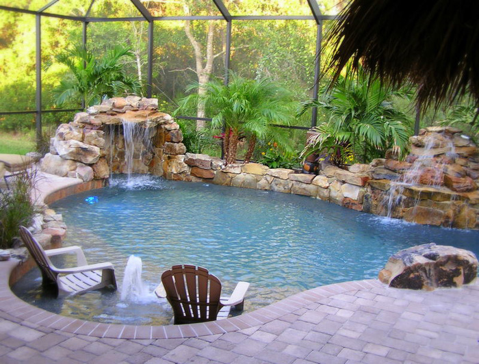 Modern pool landscaping ideas with rocks and plants for Natural pool design