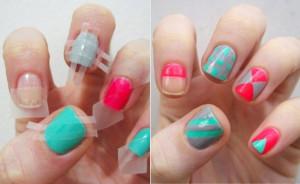 DIY scothtape nail designs