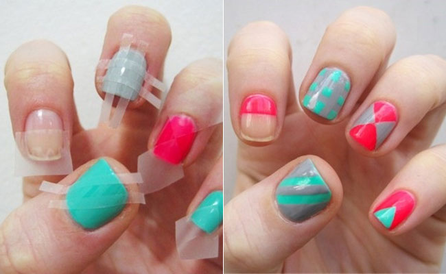 DIY scothtape nail designs - Easy DIY Nail Designs For Beginners 2014
