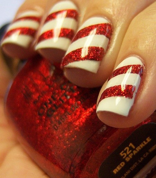 Candy cane Christmas nail art designs - Easy Christmas Nail Art Designs DIY 2014
