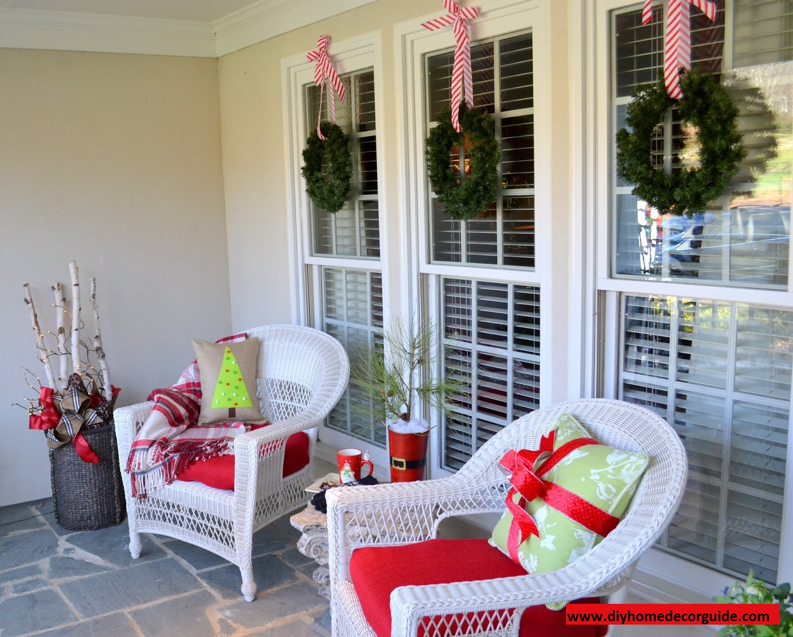 decorating front christmas outside lit the with porch decor decorations garland for