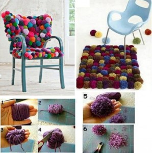 Colorful pom pom outdoor cushions
