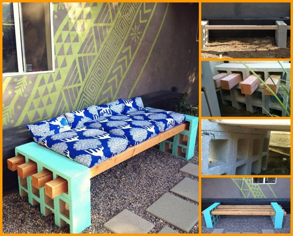 Cinder Block Furniture Backyard : Modern DIY Patio Furniture Ideas