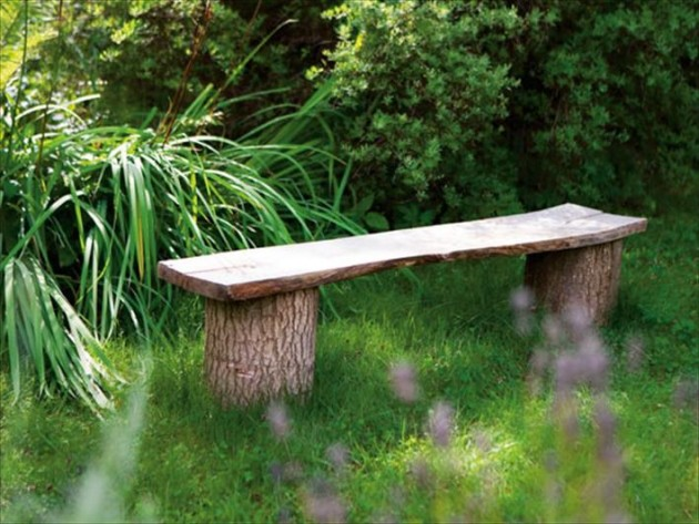 Diy outdoor bench ideas for garden and patio for Banca de madera para jardin