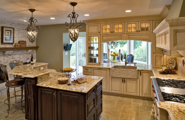 Kitchen design ideas for kitchen remodeling or designing for Tuscan style kitchen lighting