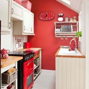 Red and white small kitchen design