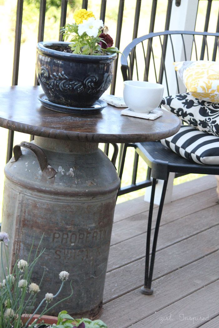 making outdoor table for your patio cut the barrel in two horizontal