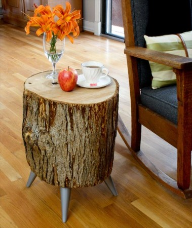DIY wood log table