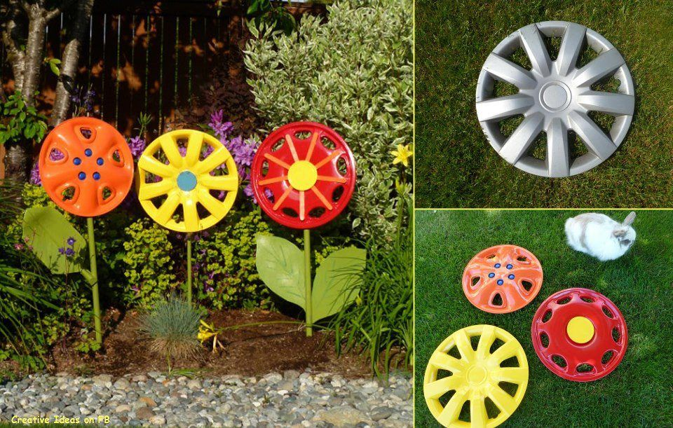 Creative diy garden ideas for decorating inexpensively for Homemade garden decorations