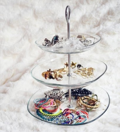 DIY Jewelry Organzier from cake stand