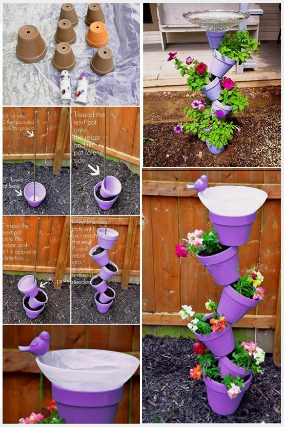 make these colorful mushrooms for your garden by using clay pots as a